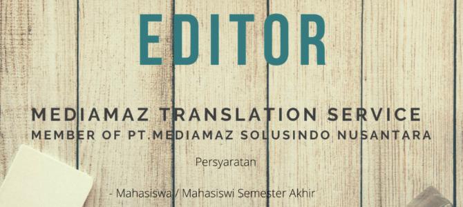 Lowongan Magang Editor