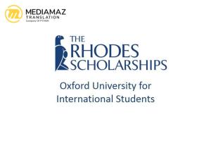 Beasiswa Rhodes 2021 - Universitas Oxford untuk Mahasiswa Indonesia